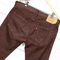 ⭐ Hommes Levis 501 Rouge Foncé Jean Coupe Standard Jambe Droite Taille W36 L30