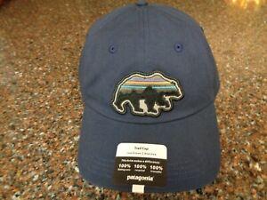 Patagonia Trad Cap Navy Blue with Bear Strapback Adjustable Hat OSFM NWT New