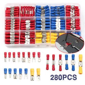 280Stk Kabelschuhe Quetschverbinder Steckverbinder Flachstecker Sortiment Box DE