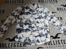 New Women's HOLLISTER Logo Graphic Tee Size XS T-Shirt blue tie-dye with shine