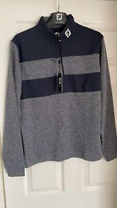 Footjoy Men's Contrast Chillout Golf Pullover, Size Medium