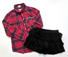 Justice 7-8 Plaid Button Down Shirt Top Black Lace Skort Skirt Fall ST1-51
