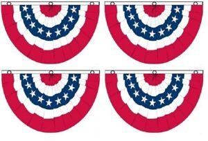 (4 Pack) 3x5 USA American America U.S. Bunting Fan Flag Banner Grommets 5x3