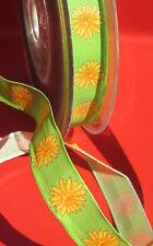 4 Meter x 15 mm Schleifenband Grün mit Margariten / Drahtkante Geschenkband