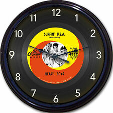 "Beach Boys Surfin' USA Wall Clock Retro Image of Vinyl 45 RPM Record New 10"""