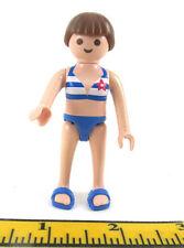 Playmobil~Dollhouse~Girl~Lady~Blue Swim Suit~Mod.Brown Hair~Bow~Beach~Sandals