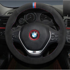 For BMW 320I Car Steering Wheel Cover DIY Hand-stitched Non-slip Black Leather