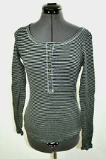 Lucky Brand Women Pullover Shirt Black Striped Long Sleeve Buttons  Sz XS