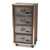 Rolling Accent Chest French Industrial Brown Wood And Silver Metal 4-Drawer