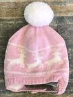 Baby Gap Winter Pom Pom Hat Pink Reindeer Knit Girls Pink 6-12 Month