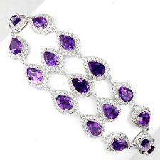 Sterling Silver 925 Genuine Natural Amethyst Gemstone Cluster Bracelet 7-8.5 In