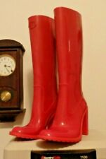 RED Cos play High Heel Dress  Rubber Rain Boots Wellies  10 EUC