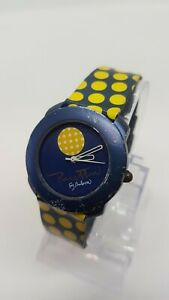 Benetton By Bulova Designer Watch For men and women Blue and Yellow Vintage