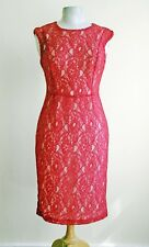 FCUK coral red lace fitted shift dress with tiny cap sleeve 10 UK
