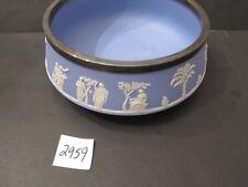 Wedgwood Blue Jasperware Large Bowl with Silverplate Band on Rim