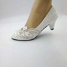 4.5cm heel Pearl white silk lace women Wedding shoes Bride shoes size35-40