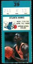 Ticket Basketball Charlotte Hornets 1988 - 1989 4.1 Atlanta Hawks