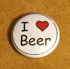 1 Inch I Heart Love Beer Button Pin Pinback