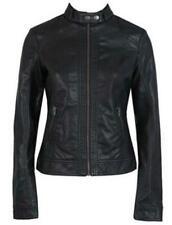 Slim Size 10-20 Tops Womens Ladies Black Faux PU Leather Zipped Biker Jacket UK