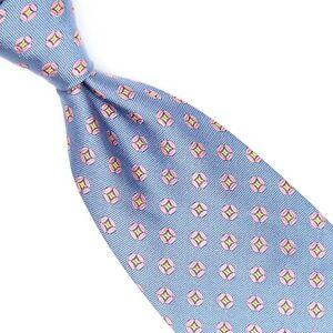 Brooks Brothers Mens Silk Necktie Sky Blue Pink Gold Geometric Dot Jacquard Tie