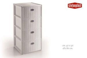 Stefanplast - Cassettiera Line 'Elegance' With 4 Rooms - White Color