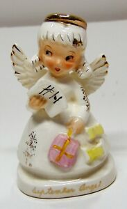 Vintage 1950's September Birthday Angel Figurine w/Present and Music Book Japan!