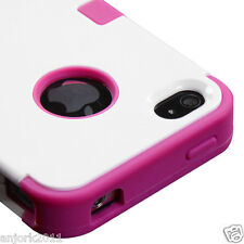 APPLE iPHONE 4 4S MULTI-LAYER HYBRID CASE COVER SKIN ACCESSORY WHITE HOT PINK