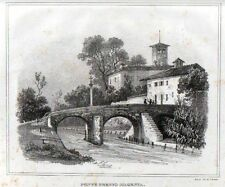 Stampa antica PONTE presso MAGENTA Giuseppe Elena 1835 Old print