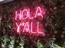 """New Hola Y'all Neon Light Sign 24""""x20"""" Lamp Poster Real Glass Beer Bar"""