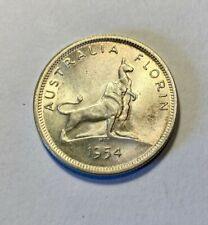 AUSTRALIA 1954 Royal Visit Silver Florin, fine UNC