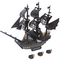 3D Puzzle Wooden Laser-Cut DIY Handmade Black Pearl Pirate Ship Model Kit Gifts