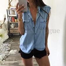 Zanzea 2017 Women Sleeveless V-neck Demin Jean LOOK Casual Tops Blouse T-shirt Light Blue Turndown Beach Cover Outwear AU 14 (tag Size L)