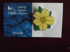 RSPB GNaH primrose Metal Pin Badge on Blue FR Card