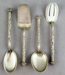 Vintage Set Anglo Indian Thai Burmese .900 Silver Serving Utensils 291g
