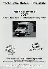 Preisliste Hehn Mobil + Top Star Reisemobil Mercedes Sprinter 2007 Wohnmobil
