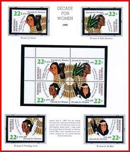 MARSHALL IS. 1985 UNO/ONU DECADE FOR WOMEN mnh BIRDS, MUSIC, PALM TREE