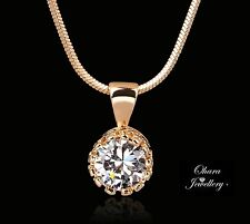 18k Rose Gold Plated Cubic Zirconia CZ Crystal Chain Pendant Necklace Jewellery