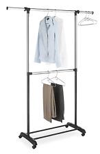 Whitmor Adjustable 2-Rod Garment Rack - Rolling Clothes Organizer Black & Chrome