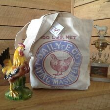 Canvas Market Tote Chicken Feed Sack Primitive Farmhouse Shopper Book Bag Purse