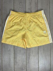 Adidas Originals Yellow Trefoil Allover Print Swim Shorts Size XL GJ5169