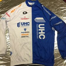 3XL Long Sleeve Half Blue/ White Full Zip Cycling Jersey UHC/Vermarc Logos Etc.