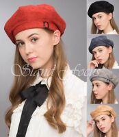 Stand Focus Elegant Chic Suede Cotton Beanie French Beret Painter Hat Buckle Cap