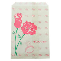 Pink Rose Style Paper Gift Bags For Jewelry Merchandise Shopping 5x7 Pack Of 100