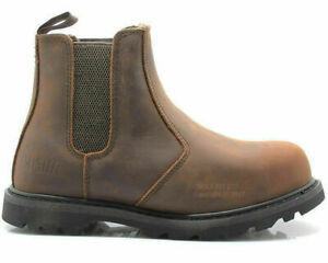 MENS SLIP ON CHELSEA DEALER SAFETY BOOTS WORK BOOTS SHOES STEEL TOE CAP SIZES