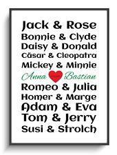 Geschenk A4 Bild Berühmte Paare 1 Personalisiert Poster Freundin Mann Frau Sie