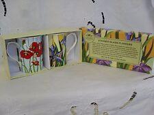 Leonardo STAINED GLASS flower mugs x2 BNIB
