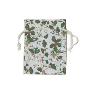 Christmas Festive Holly Print Cotton Mix Gift Bag Presents Xmas Accessories