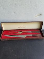 Vintage BURNCO Mid Century Steak and Rib Set Stainless Steel w/ Original Box