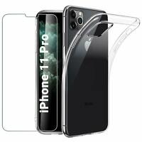 "For Apple iPhone 11 Pro 5.8"" Case Clear Slim Gel Cover & Glass Screen Protector"
