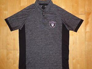 NEW Mens NFL LAS VEGAS RAIDERS Football Gray & Black Medium M ANTIGUA Polo Shirt